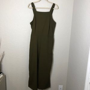 H&M Olive Cropped Jumpsuit